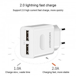 JOYROOM L-L221 5V 2A Portable Dual USB Ports Smart Charge Travel Charger, EU Plug