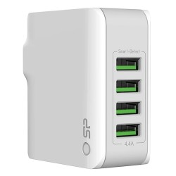 Silicon Power Travel Plug 4.4A fast charging 4 USB ports -SP4A4ASYWC104PUWTW - White