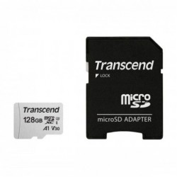 Transcend 128GB Micro SD UHS-I U3A1 Class 10 Memory Card with Adapter (TS128GUSD300S-A)
