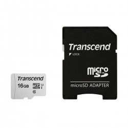 Transcend 16GB Micro SD UHS-I U1 Memory Card with Adapter (TS16GUSD300S-A)